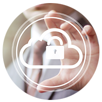 Graphic of a padlock within a cloud overlapping a hand