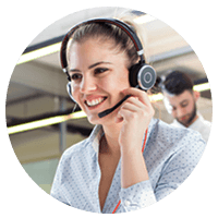 Datalink support representative on headset taking calls