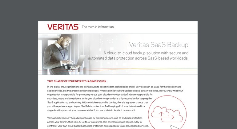 Thumbnail of Veritas SaaS Backup datasheet available to download below