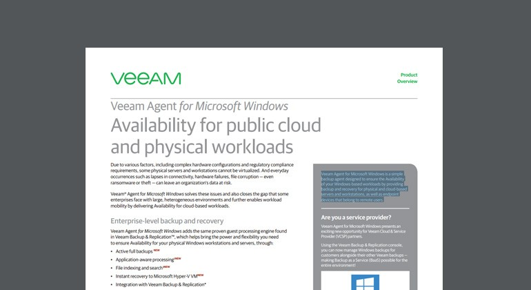 Thumbnail of Veeam Agent for Windows datasheet available to download below
