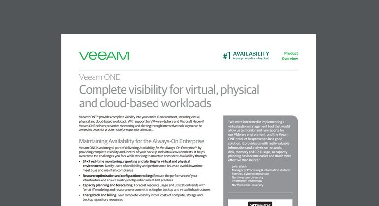 Thumbnail of Veeam ONE Datasheet datasheet available to download below