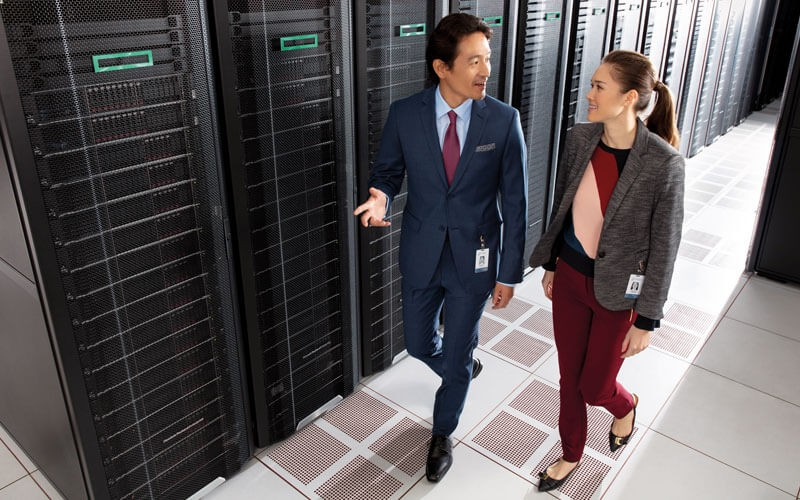 HPE users walking in server room