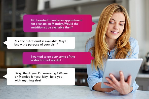 Woman communicates with retail representative using mobile chat agent
